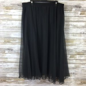 Vintage NWT 80's Black Sheer Evening Skirt 24W